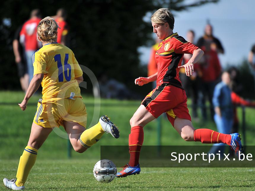 Belgium - Ukraine :  Aline Zeler aan de bal voor Alla Lyshafai (16)<br /> foto DAVID CATRY / Nikonpro.be