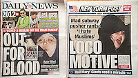 Front pages on Sunday, December 30, 2012 of the New York Daily News and the New York Post report on the arrest of Erika Menendez, 31, for allegedly pushing Sunando Sen onto the tracks in front of a Flushing Line subway train at the 40th street station in Queens in New York on Wednesday evening, December 26. . (© Richard B. Levine)
