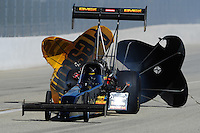 Feb. 27, 2011; Pomona, CA, USA; NHRA top fuel dragster driver Troy Buff  during the Winternationals at Auto Club Raceway at Pomona. Mandatory Credit: Mark J. Rebilas-