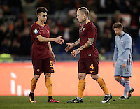 Calcio, ottavi di finale di Tim Cup: Roma vs Sampdoria. Roma, stadio Olimpico, 19 gennaio 2017.<br /> Roma&rsquo;s Radja Nainggolan, right, celebrates with teammate Stephan El Shaarawy after scoring during the Italian Cup round of 16 football match between Roma and Sampdoria at Rome's Olympic stadium, 19 January 2017.<br /> UPDATE IMAGES PRESS/Isabella Bonotto