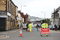Anfield Road is closed due to public safety as roof tiles fall of abandoned buildings in the high winds ahead of the Barclays Premier League Match between Liverpool and Swansea City played at Anfield, Liverpool on 29th November 2015