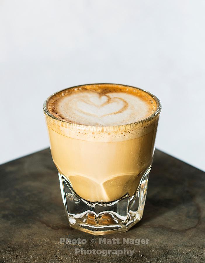 A cortado coffee drink from Thump Coffee Shop in Denver, Colorado, Wednesday, March 4, 2015. A cortado is made from half cream and half espresso.<br /> <br /> Photo by Matt Nager
