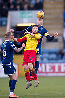 8th February 2020; Dens Park, Dundee, Scotland; Scottish Championship Football, Dundee versus Partick Thistle; Josh Meekings of Dundee competes in the air with Jamie Barjonas of Partick Thistle