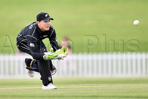 17th January 2018, Hagley Oval, Christchurch, New Zealand; Under 19 Cricket World Cup, New Zealand versus Kenya;  New Zealand's wicket keeper Callum McLachlan prepares to collect the ball