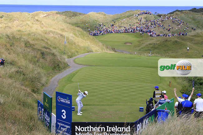 Tommy Fleetwood (ENG) tees off the par3 3rd tee during Saturday's Round 3 of the 2017 Dubai Duty Free Irish Open held at Portstewart Golf Club, Portstewart, Co Derry, Northern Ireland. 08/07/2017<br /> Picture: Golffile | Eoin Clarke<br /> <br /> <br /> All photo usage must carry mandatory copyright credit (&copy; Golffile | Eoin Clarke)