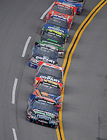 Oct. 31, 2009; Talladega, AL, USA; NASCAR Camping World Truck Series driver Colin Braun leads the field during the Mountain Dew 250 at the Talladega Superspeedway. Mandatory Credit: Mark J. Rebilas-
