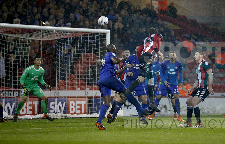 Richard Stearman of Sheffield Utd heads wide during the Championship match at Bramall Lane Stadium, Sheffield. Picture date 02nd April, 2018. Picture credit should read: Simon Bellis/Sportimage