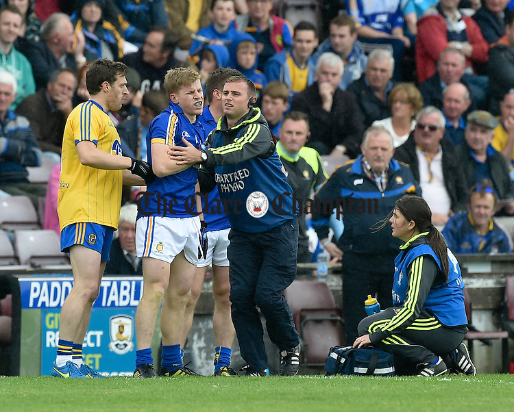 Podge Collins of Clare is treated by physio Sean O Meara. Photograph by John Kelly.