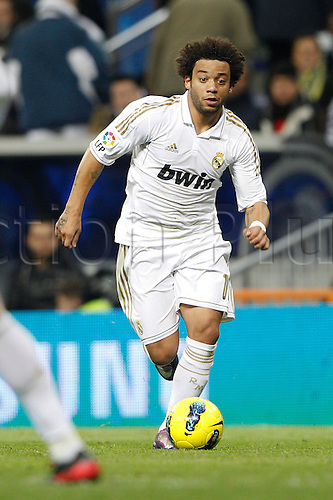 22.01.2012. Madrid Spain. La Liga  The match played between  Real Madrid and Athletic Club de Bilbao (4-1)  played at the Santiago Bernabeu Stadium.  Picture show Marcelo Vieira (Brazilian defender of Real Madrid)