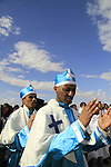 Jordan Valley, Qasr al Yahud, Ethiopian Orthodox Church celebrates the Feast of Theophany at the place of Jesus' baptism by John the Baptist