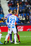 Ruben Perez of CD Leganes sees the red card during La Liga match between CD Leganes and Getafe CF at Butarque Stadium in Leganes, Spain. January 17, 2020. (ALTERPHOTOS/A. Perez Meca)