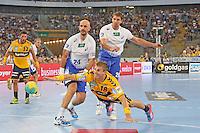 Bjarte Myrhol (Löwen) gegen Davor Dominikovic und Adrian Pfahl (HSV) - Tag des Handball, Rhein-Neckar Löwen vs. Hamburger SV, Commerzbank Arena