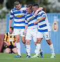 Morton's Archie Campbell (centre) is congratulated by Reece Hands and Dougie Imrie after he scores their sixth goal.