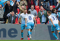 George Thomas (left) of Coventry City celebrates his goal making it 2 0 during the The Checkatrade Trophy / EFL Trophy FINAL match between Oxford United and Coventry City at Wembley Stadium, London, England on 2 April 2017. Photo by Kevin Prescod.