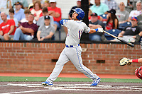 Kingsport Mets Scott Ota (11) swings at a pitch during a game against the Johnson City Cardinals at TVA Credit Union Ballpark on June 28, 2019 in Johnson City, Tennessee. The Cardinals defeated the Mets 7-4. (Tony Farlow/Four Seam Images)