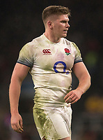 Englands' Owen Farrell<br /> <br /> Photographer Bob Bradford/CameraSport<br /> <br /> NatWest Six Nations Championship - England v Wales - Saturday 10th February 2018 - Twickenham Stadium - London<br /> <br /> World Copyright &copy; 2018 CameraSport. All rights reserved. 43 Linden Ave. Countesthorpe. Leicester. England. LE8 5PG - Tel: +44 (0) 116 277 4147 - admin@camerasport.com - www.camerasport.com