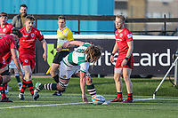Jordy REID of Ealing Trailfinders sees his try attempt wiped off Match action during the Greene King IPA Championship match between Ealing Trailfinders and Jersey Reds at Castle Bar , West Ealing , England  on 22 December 2018. Photo by David Horn.