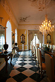 JAMAICA, Port Antonio. A dining room inside the Trident Castle.