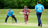 IIC T20 World Cup warm up match - Scotland V West Indies, at the John Paul Getty Oval, in the grounds of Wormsley Estate, Buckinghamshire - Windies batsman Shivnarine Chanderpaul makes the shout for a run, off the bowling of Gordon Drummond (right), with Scotland keeper Colin Smith waiting to pounce - Picture by Donald MacLeod - 28 May 2009