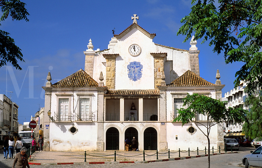 Beautiful old cathedral called Nossa Banhora de Rosario in the village of Olmao in the Algarve in Southern Portugal in Europe