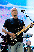 Pink Floyd - guitarist David Gilmour and drummer Nick Mason - performing live on stage with the reunited line-up at the Live 8 concert in Hyde Park, London UK -  02 July 2005.   Photo credit: George Chin/IconicPix
