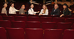 Zhenzhu Ma, Yanping Ma, Zhiyoung Liu, Xuejiao Bai, Bonnie Comley, Stewart F. Lane and Wen Chen during the Central Academy of Drama: Professors tour The Palace Theatre on September 25, 2017 at the The Palace Theatre in New York City.