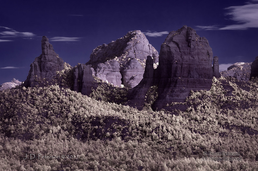 The Mitten from Huckaby Trail (Infrared) ©2017 James D Peterson.  This ridge above uptown Sedona, Arizona is visible from many directions.