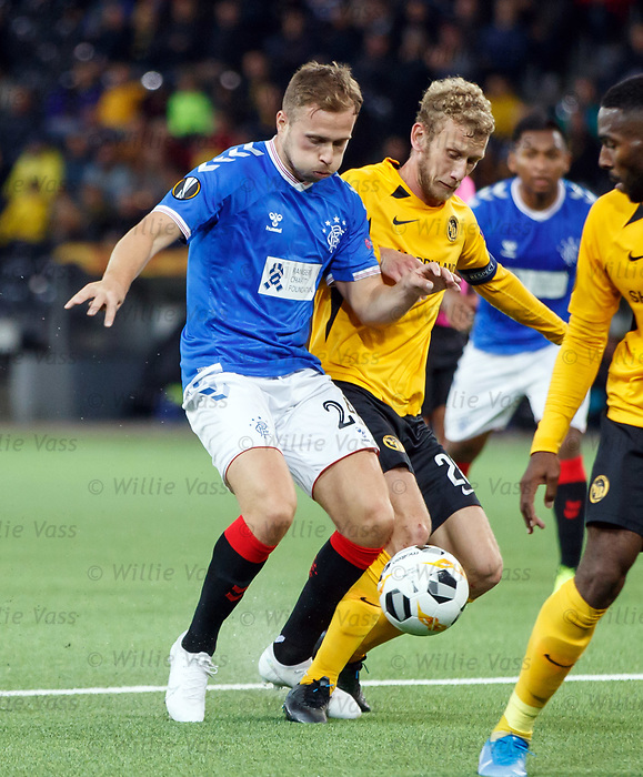 03.10.2019 Young Boys of Bern v Rangers: Greg Stewart and Fabian Lustenberger