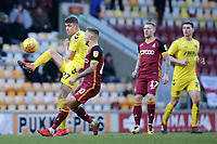 Fleetwood Town's Harrison Biggins clears away from Bradford City's Jack Payne<br /> <br /> Photographer David Shipman/CameraSport<br /> <br /> The EFL Sky Bet League One - Bradford City v Fleetwood Town - Saturday 9th February 2019 - Valley Parade - Bradford<br /> <br /> World Copyright &copy; 2019 CameraSport. All rights reserved. 43 Linden Ave. Countesthorpe. Leicester. England. LE8 5PG - Tel: +44 (0) 116 277 4147 - admin@camerasport.com - www.camerasport.com