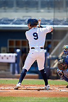Charlotte Stone Crabs Carl Chester (9) during a Florida State League game against the Dunedin Blue Jays on April 17, 2019 at Charlotte Sports Park in Port Charlotte, Florida.  Charlotte defeated Dunedin 4-3.  (Mike Janes/Four Seam Images)