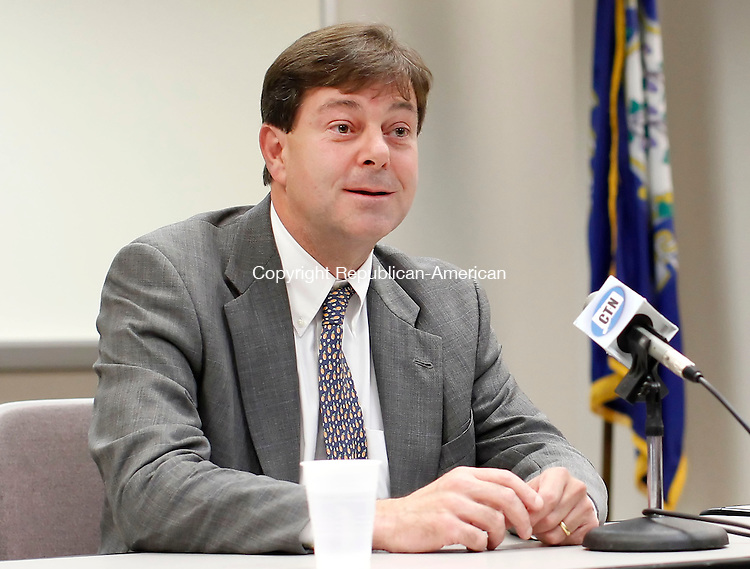 Torrington, CT-03 October 2012-100312CM04-  Andrew Roraback, Republican candidate for the 5th Congressional District, addresses members of the Northwest Connecticut Chamber of Commerce Tuesday afternoon in Torrington.  Roraback was answering questions at the chamber's office during a roundtable meeting.  Roraback is running against Democratic challenger, Elizabeth Esty.   Christopher Massa Republican-American