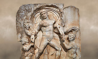 Roman Sebasteion relief  sculpture of Emperor Claudius as God of sea and land,  Aphrodisias Museum, Aphrodisias, Turkey.  Against an art background.<br /> <br /> The Emperor as god Claudius strides forward in a divine epiphany, drapery billowing around his head. He receives a cornucopia with fruits of the earth from a figure emerging from the ground, anda ship's steering oar from a marine tritoness with fish legs. The idea is clear: the god-emperor guarantees the prosperity of land and sea. The relief is a remarkable local visualisation - elevated and panegyrical - of the emperor's role as a universal saviour and divine protector.