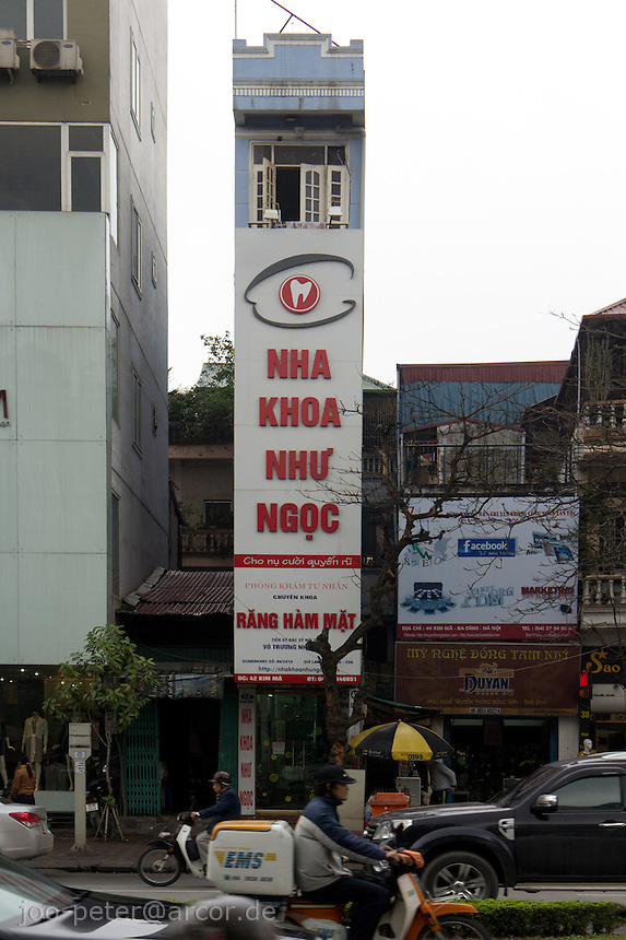 typical tube house in Hanoi, Vietnam