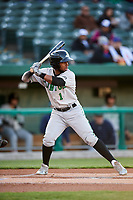 Clinton LumberKings designated hitter Luis Rengifo (1) at bat during a game against the South Bend Cubs on May 5, 2017 at Four Winds Field in South Bend, Indiana.  South Bend defeated Clinton 7-6 in nineteen innings.  (Mike Janes/Four Seam Images)