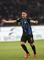 Calcio, Serie A: AC Milan - Inter Milan, Giuseppe Meazza (San Siro) stadium, Milan on 17 March 2019.  <br /> Inter's Lautaro Martinez celebrates after winning 3- 2 the Italian Serie A football match between Milan and Inter Milan at Giuseppe Meazza stadium, on 17 March 2019. <br /> UPDATE IMAGES PRESS/Isabella Bonotto