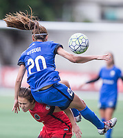 Seattle, WA - Saturday Aug. 27, 2016: Meleana Shim, Rumi Utsugi during a regular season National Women's Soccer League (NWSL) match between the Seattle Reign FC and the Portland Thorns FC at Memorial Stadium.