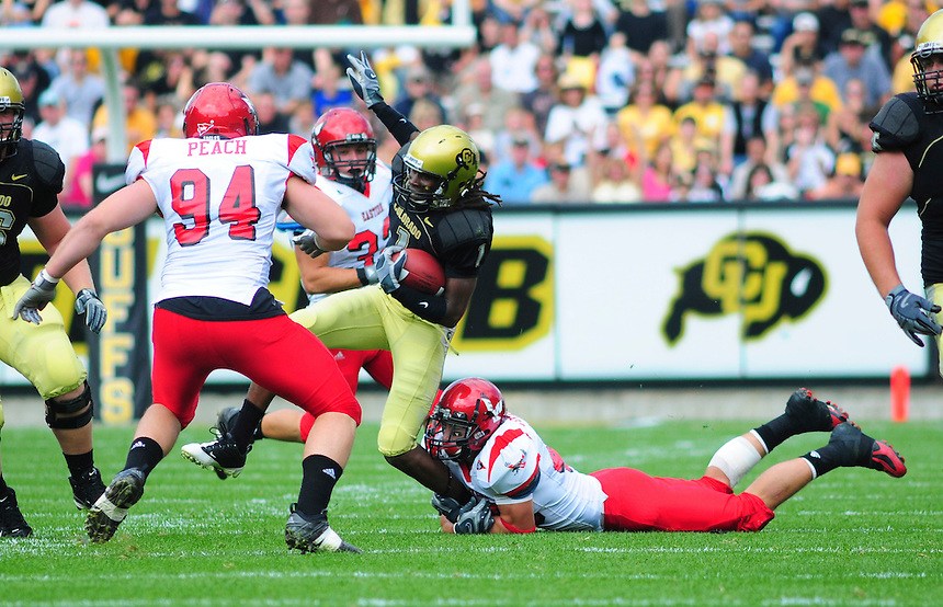 06 September 08: Colorado wide receiver Josh Smith (1) carries the ball against Eastern Washington. The Colorado Buffaloes defeated the Eastern Washington Eagles 31-24 at Folsom Field in Boulder, Colorado. FOR EDITORIAL USE ONLY
