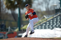 Illinois Fighting Illini relief pitcher Aidan Maldonado (41) in action against the West Virginia Mountaineers at TicketReturn.com Field at Pelicans Ballpark on February 23, 2020 in Myrtle Beach, South Carolina. The Fighting Illini defeated the Mountaineers 2-1.  (Brian Westerholt/Four Seam Images)