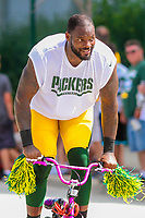 Green Bay Packers tight end Martellus Bennett (80) during a training camp practice on August 15, 2017 at Ray Nitschke Field in Green Bay, Wisconsin.   (Brad Krause/Krause Sports Photography)