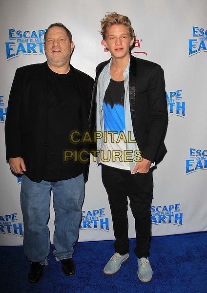 Harvey Weinstein, Cody Simpson.L.A. Premiere of 'Escape from Planet Earth' held at The Chinese 6 Theater in Hollywood, California, USA..February 2nd 2013.full length suit jacket t-shirt black blue stubble facial hair jeans denim .CAP/ADM/KB.©Kevan Brooks/AdMedia/Capital Pictures.