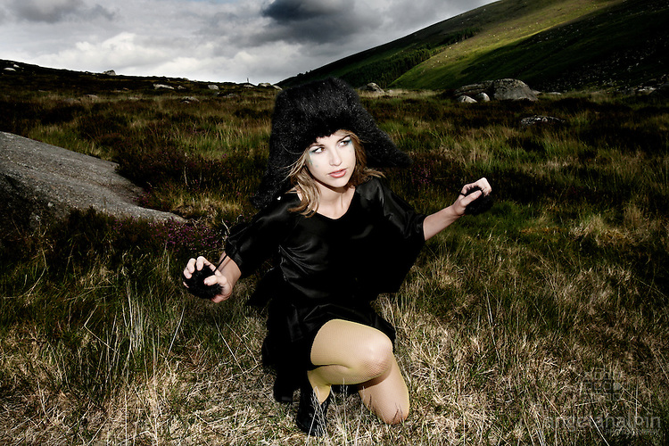 Model: Vogue Wilson.Clothes Designer: Caoimhe Keane.Make up artist: Nikki.Location: Wicklow Mountains