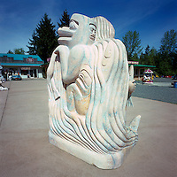 Coombs, BC, near Parksville, Vancouver Island, British Columbia, Canada - Large Stone Sculpture on Display (No Property Release)