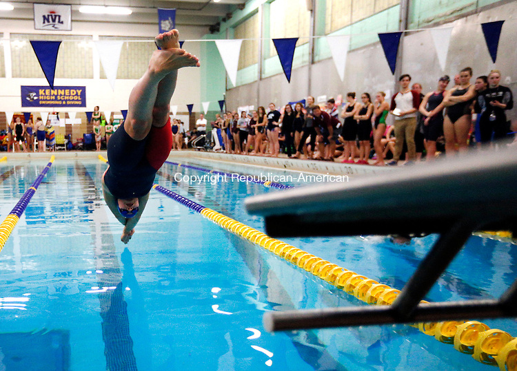 Waterbury, CT- 06 November 2015-110615CM09-  Seymour's Sierra Cripps takes off during the girls 50 yard freestyle during the NVL swimming and diving championships at Kennedy High School in Waterbury on Friday.  Cripps won the event.   Christopher Massa Republican-American