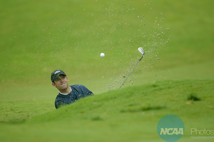 15 MAY 2004:  Scott Brown of the University of South Carolina-Aiken hits out of a sandtrap at the 12th green during the final round of the Men's Division II Golf Championship held at Victoria Hills Golf Course in Deland, Florida.  Brown tied for 4th place with a 295 total score.  Chris Livingston/NCAA Photos