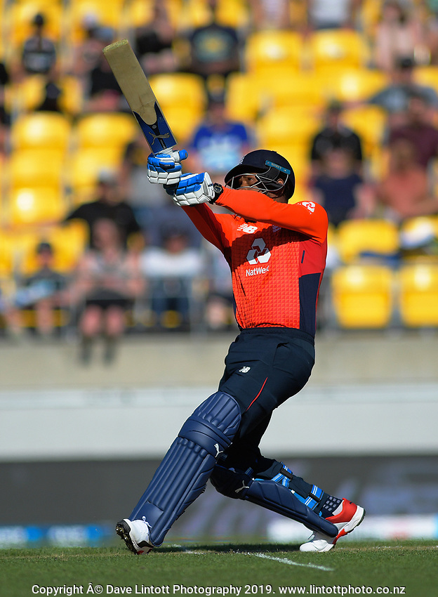 Chris Jordan hits a six. Twenty20 International cricket match between NZ Black Caps and England at Westpac Stadium in Wellington, New Zealand on Sunday, 3 November 2019. Photo: Dave Lintott / lintottphoto.co.nz