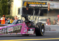 Oct 4, 2013; Mohnton, PA, USA; NHRA top fuel dragster driver Brittany Force during qualifying for the Auto Plus Nationals at Maple Grove Raceway. Mandatory Credit: Mark J. Rebilas-