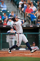 Gwinnett Braves designated hitter Matt Tuiasosopo (5) at bat during a game against the Buffalo Bisons on August 19, 2017 at Coca-Cola Field in Buffalo, New York.  Gwinnett defeated Buffalo 1-0.  (Mike Janes/Four Seam Images)