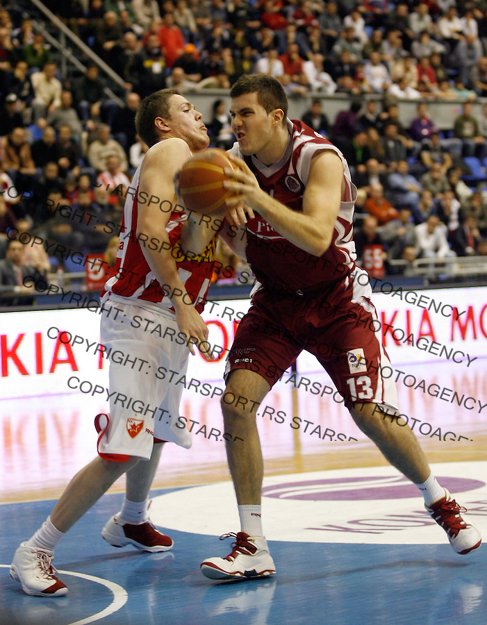 Kosarka, NLB League, season 2008/09.Crvena Zvezda Vs. FMP.Miroslav Rdauljica, right and Vladimir Stimac.Beograd, 23.12.2008. .Photo: © Srdjan Stevanovic/Starsportphoto.com