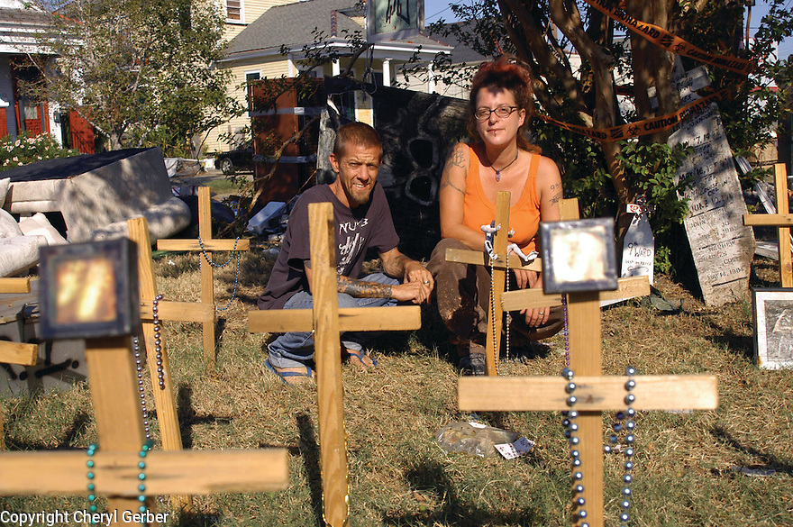 Artists Jeffrey Holmes and Andrea Garland create memorial in Bywater after Katrina, 2005