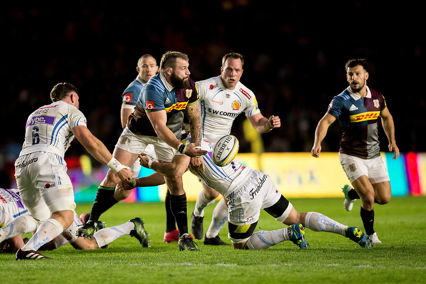 Harlequins' Joe Marler in action during todays match<br /> <br /> Photographer Bob Bradford/CameraSport<br /> <br /> Aviva Premiership Round 20 - Harlequins v Exeter Chiefs - Friday 14th April 2016 - The Stoop - London<br /> <br /> World Copyright &copy; 2017 CameraSport. All rights reserved. 43 Linden Ave. Countesthorpe. Leicester. England. LE8 5PG - Tel: +44 (0) 116 277 4147 - admin@camerasport.com - www.camerasport.com